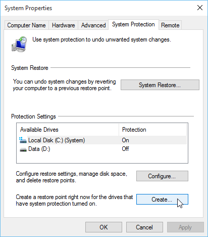 System Properties Create a restore point Windows 10
