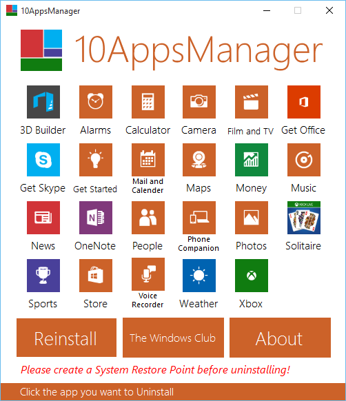 Uninstall stock pre installed built in Windows 10 apps 10AppsManager